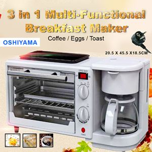 OSHIYMA 3 In 1 Breakfast Machine Coffee Maker Frying Pan Bread Toaster Electric Oven + bubble wrap