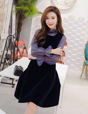 Navy Blue Puff Dress