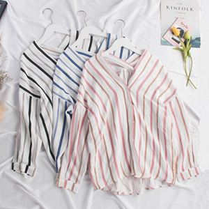 Stripe V-Neck Loose Shirt