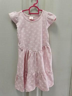 Princess Dress V2 : WHITE RIBBON ON PINK, size 4-6, 6-8