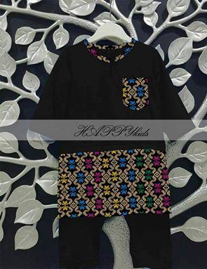 Baju Melayu Rompers - Songket Printed - Hitam
