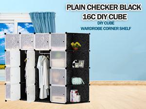 Plain Black 16C DIY Cube w Corner Rack (PB16CR)