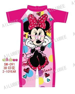 SW091 AILUBEE MINNIE RED  SWIMMING SUIT ( SZ 2-10Y )