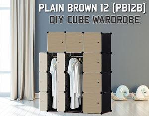 Plain Brown 12Cube Diy Wardrobe (PB12B)