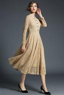 Slim Retro Long Jacquard Lace Dress