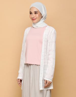 LEAN LACE CARDIGAN IN WHITE