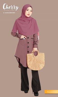 BLOUSE CHERRY - SADDLE BROWN