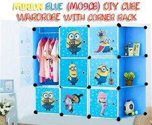 Minion Blue (MO9CB) Diy Cube Wardrobe with Corner Rack