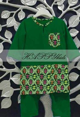 Baju Melayu Rompers - Songket Printed - Hijau
