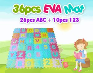 36pcs EVA Mat (26pcs ABC + 10pcs 123)