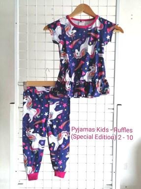 Pyjamas *SPECIAL DENGAN RUFFLE STYLE* (UNICORN VALLEY) KIDS SIZE 2