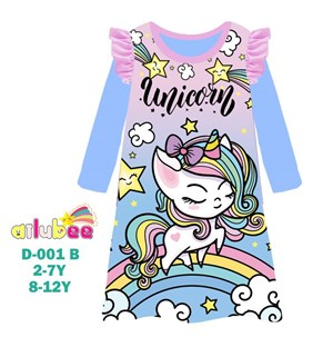 @  AILUBEE UNICORN DRESS  SLEEPWEAR ( D001-B  ) SZ  2Y - 12Y