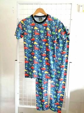 Pyjamas DINOSAURS BLUE : Size DEWASA M- 4XL