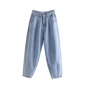 PLEATED LOOSE HIGH WAIST BAGGY JEANS IN LIGHT BLUE