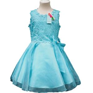 @  L108  LIGHT BLUE GIRLS CHIFFON DRESS WITH LACE