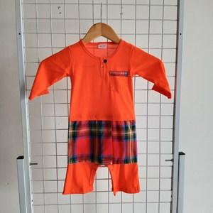 Baju Melayu Rompers (Orange with Red Pelekat sampin) 9-12bln shj