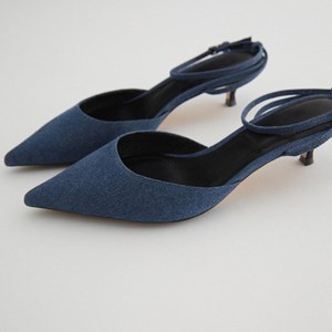 Mid-heel Denim Pointed Toe Heels