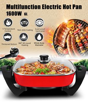 1600W Multifunction Electric Non-Stick Grill Hot Pot Pan Smokeless Fry Cooking