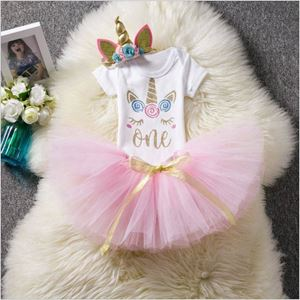 @  T00182-1  UNICORN BABY ROMPER WITH SKIRT + HEADBAND( SIZE 9-12M )