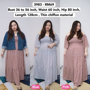 3983 *Ready Stock *Bust 36 to 56 inch /91 -142cm