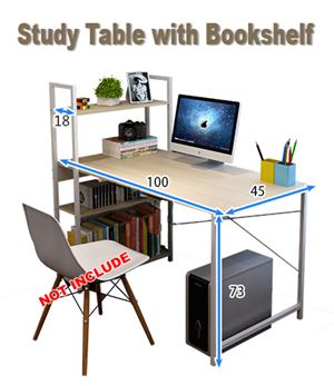 Study Table with Bookshelf/ Meja Belajar + Rack Buku  eta 23/4