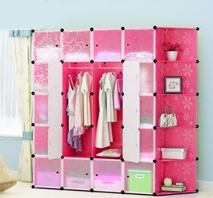 20Cube Pink Flower Wardrobe with Corner Shelf (F20PCR)