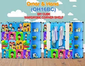 Omar & Hana BLUE 16C DIY WARDROBE w CORNER RACK (OH16CB)