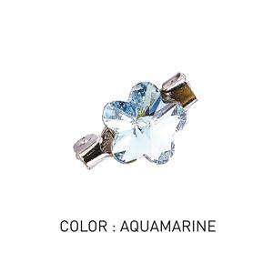 Brooch 3D Flower Luxe Aquamarine