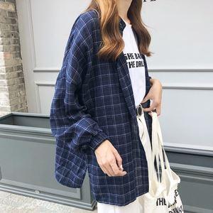 Medium Length Plaid Large Size Shirt