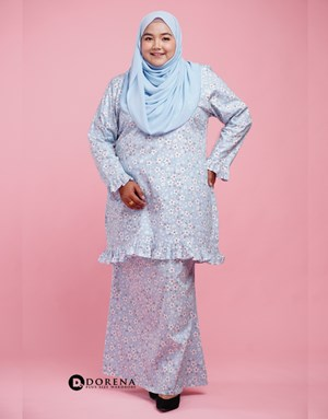 Kurung Cotton Aisya (Baby Blue)