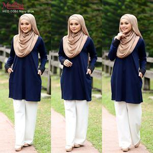 Madeena MED 0086 Nursing Shirt (Button)  Navy Blue