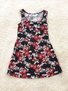 Kids Dress RED ROSE BLACK : (size 2 - 14 sesuai utk 1y - 7y) HM