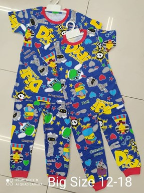 Pyjamas Viral Sleepy Mummy Biru : Big Size 12- 18
