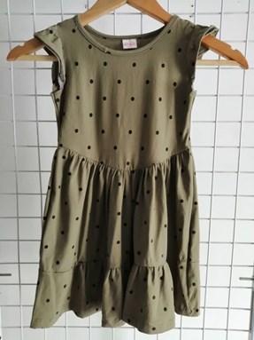 Princess Dress V2 : MOSS GREEN ON BLACK POLKA  4-6, 6-8