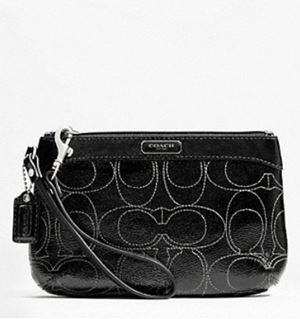 Coach Signature Patent Leather Medium Wristlet Denim