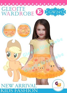 @  GW 245 DRESS  { E ~ PONY ORANGE }  ( SZ 2Y - 13Y )