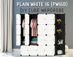 Plain White 16C Diy Wardrobe With Corner Rack (PW16BC)