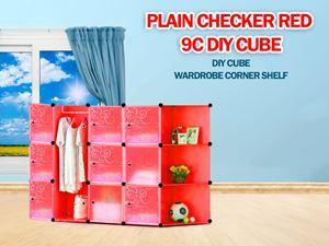 Plain Red 9C DIY Cube w Corner Rack (PR9CR)