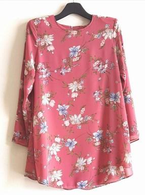 Blouse Chiffon Dania - Rouge Pink Flower (Size: 38 - 52)