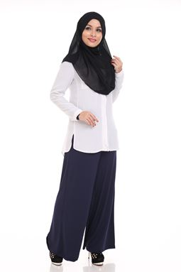 Palazzo (Dark Blue) Maternity Friendly with Adjustable Waistband - Size S hingga L