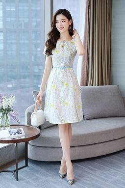 Floral Short Sleeve Cotton Dress