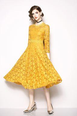 Yellow Midi Lace Dress