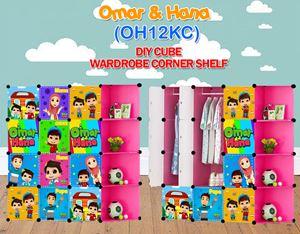 Omar & Hana PINK 12C DIY WARDROBE w CORNER RACK (OH12KC)