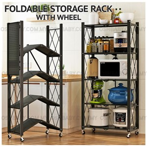 FOLDABLE STORAGE RACK WITH WHEEL