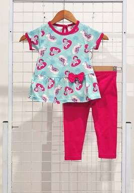 [SIZE 12/18M] Baby Girl Set : CAT CHILL MODE MINT WITH HOT PINK PANT (9m - 36m) SPG