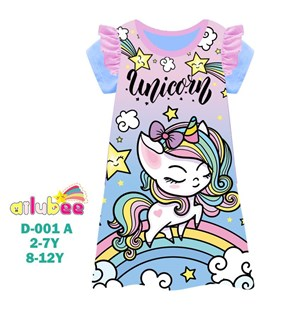 @  AILUBEE UNICORN DRESS  SLEEPWEAR ( D001-A  ) SZ  2Y - 12Y