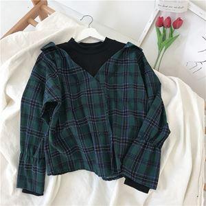 Grid Stitching Casual Cotton Shirt