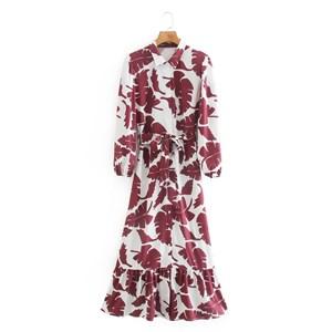 MAROON LEAFS PRINTED DRESS