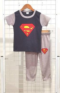 SIZE 1/2 KIDS Pyjamas BIG SUPERMAN Grey Blue Black - Short Sleeve 1y - 8y (KWF)