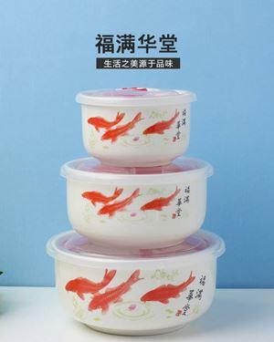 CERAMIC SEALED BOWL  ( 3 PCS SET ) -  FISH